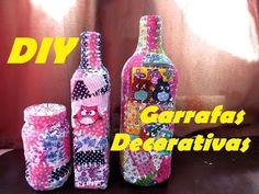 DIY: Garrafas decoradas com retalhos de tecido - patchwork na garrafa -Compartilhando arte - YouTube