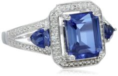 Sterling Silver Created Ceylon Sapphire and DiamondAccented 3Stone Ring Size 7 * Click image for more details.Note:It is affiliate link to Amazon.