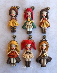 Steampunk dolls fimo, polymer clay, handmade. Follow me on facebook.com/meicreationsbijoux