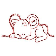 FREE! Sewing Kitty Redwork - 4x4 | FREE | Machine Embroidery Designs | SWAKembroidery.com