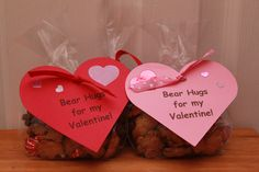 """Scout's Valentines for school.  """"Bear Hugs""""  Teddy Grahams and Hershey Hugs"""
