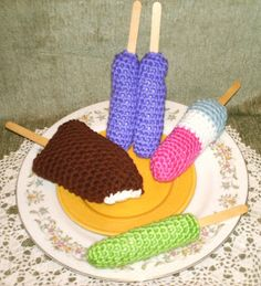 ICE CREAM BAR & ICE POPS - free crochet pattern