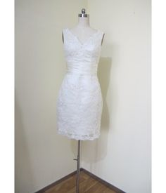 Wedding Dress Short Length Zipper Back and Deep V-neck Short Dresses, Formal Dresses, Wedding Dresses, Bridal Gowns, White Dress, V Neck, Deep, Zipper, Fashion