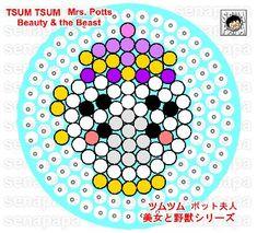 tsum tsum, perler template, mrs potts, tsum tsum