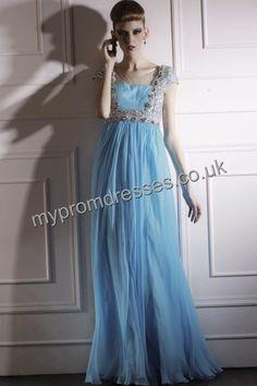 Floor Length Off-the-shoulder Blue Tulle A-line Evening Dress  http://www.mypromdresses.co.uk