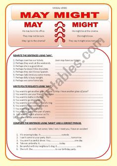 Modal verbs - MAY / MIGHT - ESL worksheet by Ania Z Grammar Practice, Teaching Vocabulary, English Grammar Worksheets, Verb Worksheets, Go To The Cinema, English Tips, May, English Language, Sentences