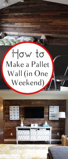 Superb DIY Home Improvement On A Budget – Make A Pallet Wall – Easy and Cheap Do It Yourself Tutorials for Updating and Renovating Your House – Home Decor Tips and Tricks, Remodeling and Decora ..