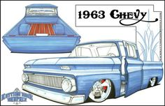 """They removed the """"parking lights in the hood"""", something Chevy should've done… C10 Trucks, Chevrolet Trucks, 64 Impala, Retro Pictures, Rat Fink, Chip Foose, Truck Art, Weird Cars, Car Illustration"""