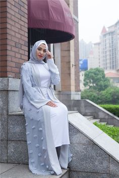 Elegant Muslim Abaya Floral Maxi Dress Cardigan FLowers Skirt Appliques Long Robes Tunic Middle East Ramadan Islamic Clothing-in Islamic Clothing from Novelty & Special Use on Aliexpress.com | Alibaba Group