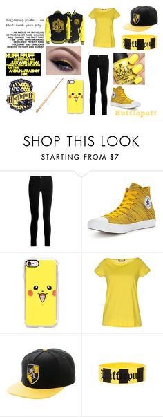 """""""Hufflepuffs are cool"""" by little-flemo ❤ liked on Polyvore featuring J Brand, Converse, Casetify, She Wise and Warner Bros."""