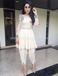 Buy White Color Dhoti Dress by Akanksha Singh at Fresh Look Fashion Pakistani Dress Design, Pakistani Outfits, Indian Outfits, Indian Designer Outfits, Designer Dresses, Asian Fashion, Look Fashion, Fashion Ideas, Stylish Dresses