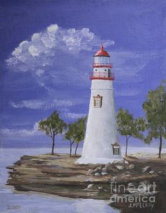 """Marble Head Lighthouse"", a painting by Jerry McElroy. In Ohio on Lake Erie stands the Marble Head Lighthouse, built in 1882. Marblehead Lighthouse is one of Lake Erie's best known and most-photographed landmarks. If you are interested in purchasing the orginal painting, please go to my website, jerrymcelroy.com for an easy transaction."