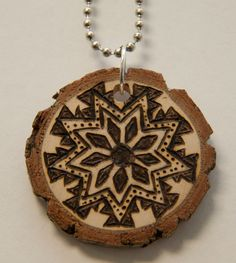 Mandala 3. $18.00, via Etsy.    pyrography, wood burned necklace, handmade