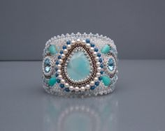 Bead Embroidery,  Bracelet, Statement cuff,  Seed bead bracelet,  Silver,  Blue,  White,  Larimar gemstone,  Amazonite,   Swarovski by vicus. Explore more products on http://vicus.etsy.com