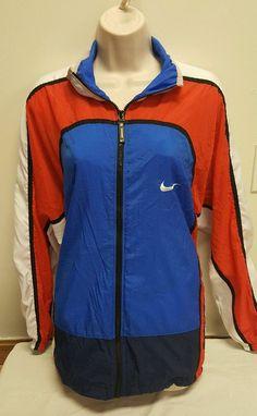 Nike Wind Breaker Jacket Coat Women's Red White Blue Size XL 18 20 Zip Up | eBay