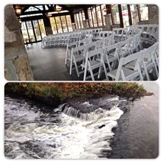 Cambridge mill, Cambridge, Ontario wedding venue - falls view - river view - ceremony space - wooden - logs - Ontario Wedding planner - High Gloss Weddings - www.highglossweddings.com Cambridge Mill, Cambridge Ontario, Wedding Venues Ontario, Logs, High Gloss, Wedding Planner, River, Weddings, Space