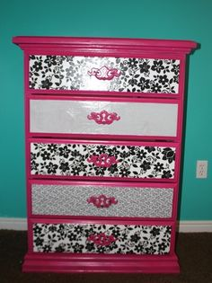 Mod Podge Dresser **This for Amber's dresser...instead of buying a new one re-vamp the old one!  Will have to take before and after pics.