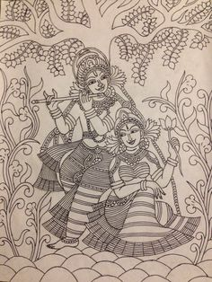 Krishna and Radha mural pencil sketch Kalamkari Painting, Krishna Painting, Madhubani Painting, Art Drawings Sketches, Pencil Sketch Art, Outline Drawings, Mural Art, Murals, Kerala Mural Painting