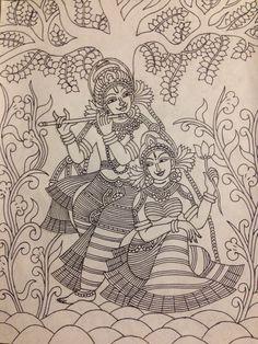 Krishna and Radha mural pencil sketch Kalamkari Painting, Krishna Painting, Madhubani Painting, Outline Drawings, Art Drawings Sketches, Mural Art, Murals, Kerala Mural Painting, Ganesha Art
