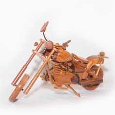 Harley Davidson Motorcycle : Wooden Motorcycle Model