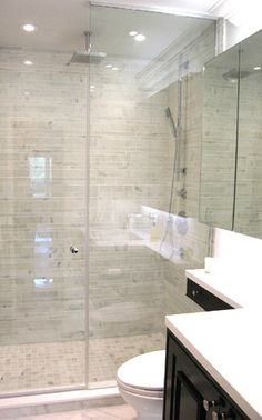 Sino Carrara - contemporary - bathroom tile - toronto - Cercan Tile Inc. Steam shower with glass wall/door