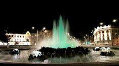 fountain at Schwarzenbergplatz in Vienna in the night - HD stock footage clip