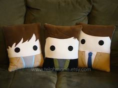 Supernatural, Pillow Sam Winchester, Dean Winchester, Castiel, Throw pillow, Plush Awwwwwww i want them?