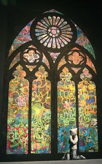 """The Church of Banksy. """"MOCA's Art in the Streets — the very first major US museum exhibition of graffiti and street art — but Banksy's stunning stained glass window is the piece that we felt the most. Banksy Graffiti, Banksy Canvas, Graffiti Artwork, Bansky, Graffiti Artists, Graffiti Lettering, Graffiti Wall, Banksy Prints, Moss Graffiti"""