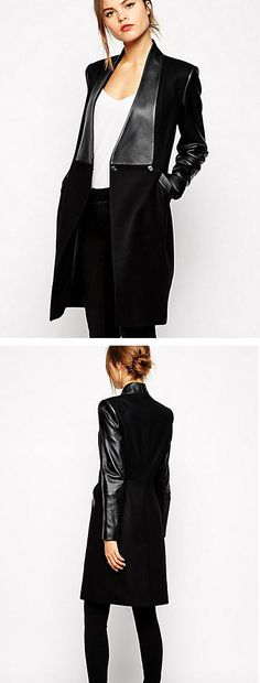 Rock and roll for the day. Chick rock black leather long coat for windy days. Only  $29.69. Enjoy up to 85% OFF on Black Friday sale - till December 1st.