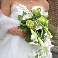 Contemporary/Modern Cascading Wedding Bouquet: White Calla Lilies, White Phalaenopsis Orchids, Green Roses, Green Foliage