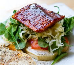 BBQ Tempeh Kraut Stack Sandwich - thanks to Kathy of Healthy Happy Life for tonight's dinner inspiration