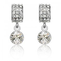 Crystal from Swarovski Earrings Vintage Fashion Jewelry Crystal Drop Dangle Earrings For Women 18K White Gold Plated Gift 2249