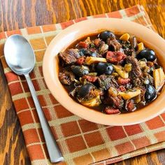 Slow Cooker Mediterranean Beef Stew with Rosemary and Balsamic Vinegar - love the black olives in there.