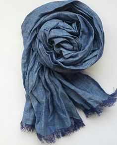 Bleu Linen scarf Child Summer scarf Natural by TheMoonKidsBoutique