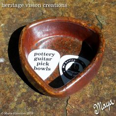 Wood Fired Pottery Guitar Pick Holder Trinket Bowl - Red Shino by HeritageVision on Etsy