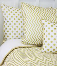Caden Lane's Pillow Sham - Metallic Gold Dot & Chevron.