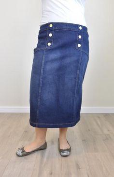 Ladies and Lavender Boutique - Modest Apparel A Line Denim Skirt, High Waisted Denim Skirt, Denim Skirts, A Line Skirts, Modest Skirts, Modest Outfits, Athletic Skirts, Sports Skirts, Denim Flares