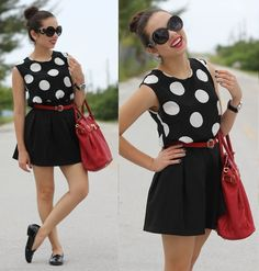 Furor Moda Round Sunglasses, Romwe Polka Dot Top, Beginning Boutique Red Belt, Mimi Boutique Red Bag, Jc Penney Black Loafers