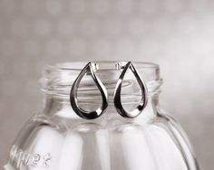 Garosu Girls Teardrop Stud earrings in dark grey. Simple, classic, elegant. From www.moxyst.com