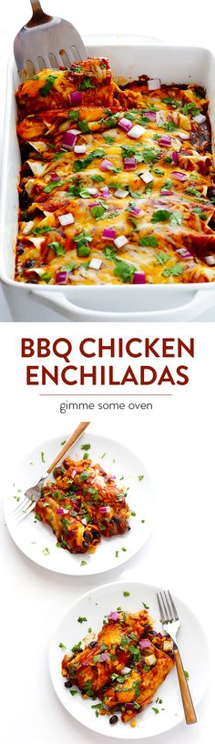 BBQ Chicken Enchiladas -- kick your enchiladas up a notch with some delicious bbq sauce! | gimmesomeoven.com