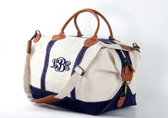 without the script style monogram.  Navy Trim Monogram Canvas Weekend Duffle Bag by TetaApparel