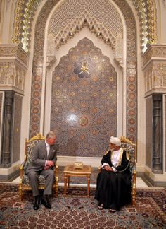 Prince Charles of Wales met with the Sultan of Oman Qaboos bin Said Al Saidat at the Sultan's Palace at Bayt al Baraka on the seventh day of a tour of the Middle East on March 17