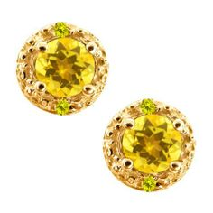 0.74 Ct Round Yellow Sapphire and Canary Diamond 14k Yellow Gold Earrings Gem Stone King. $184.99. This Item Contains 100% Natural Stones. This item is proudly custom made in the USA