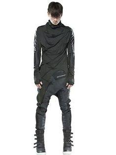 Demobaza Men's: Long sleeve, high neck wrap shirt with asymmetric hem, drop crotch pants, high top latch sneakers