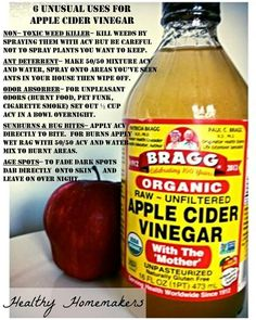 Bragg's apple cider vinegar with the mother 6 unusual Uses for acv raw and organic sun spots ants deterrent natural weed killer. Apple Cider Vinegar Cellulite, Apple Cider Vinegar For Skin, Apple Coder Vinegar, Weed Killer Homemade, Vinegar With The Mother, Detox Recipes, Detox Drinks, Health Remedies, Nutrition