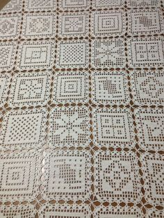 Photo from album Crochet Tablecloth Pattern, Crochet Motif Patterns, Filet Crochet Charts, Crochet Bedspread, Crochet Curtains, Granny Square Crochet Pattern, Crochet Squares, Crochet Granny, Crochet Designs