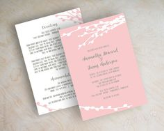 Pink and gray country chic wedding invitations, fall, pink, grey, autumn wedding invitation, pussy willows, french gray, stone gray, Elayna www.appleberryink.com