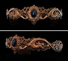 Medieval style dragon circlet crown made from brass with a dark blue sodalite cabochon inspired by Daenerys Targaryen from Game of Thrones