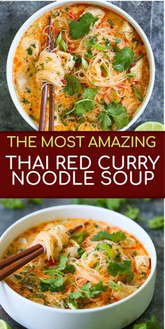 This soup is bursting with flavor with tender chicken bites, rice noodles, coriander, basil and lime juice! So comfortable, comforting and fragrant - plus it's pretty easy for any night of the week! Curry Recipes, Asian Recipes, New Recipes, Soup Recipes, Dinner Recipes, Cooking Recipes, Healthy Recipes, Simple Recipes, Healthy Foods