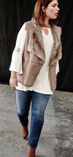 Plus Size Faux Shearling Vest Plus Size Winter Outfits, Plus Size Outfits, Fall Outfits, Casual Outfits, Denim Outfits, Casual Clothes, Winter Clothes, Work Outfits, Look Plus Size